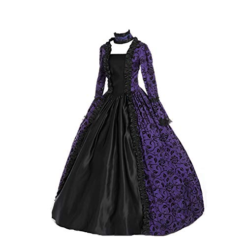 CountryWomen Renaissance Gothic Dark Queen Dress Ball Gown Steampunk Vampire Halloween Costume (XL, Purple & Black) -