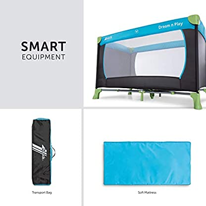 Hauck Kinderreisebett Dream N Play / inklusive Einlageboden und Tasche / 120 x 60cm / ab Geburt / tragbar und faltbar, Wasser (Blau) 3