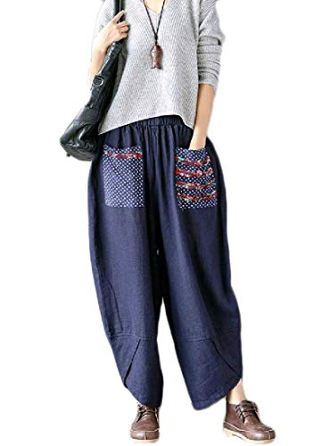 Zimaes-Women Linen Comfort Pork Chop Pocket Oversize Pants Trousers Navy Blue XL ()