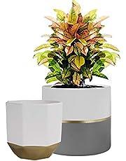 La Jolíe Muse Plant Pots Set 2, Ceramic Flower Pots for Indoor Outdoor