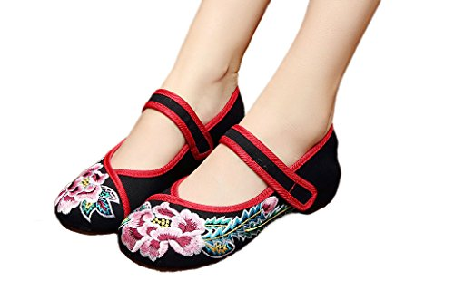AvaCostume Chinese Embroidered Womens Casual Wedges Sandals Dancing Shoes Black dqGaWQG3VH