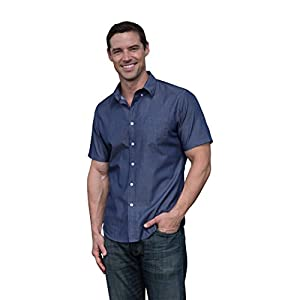 The Best Shirt Ever - Stainproof, Waterproof, Sweat-wicking Men's Button Down Short Sleeve (Large, Chambray)