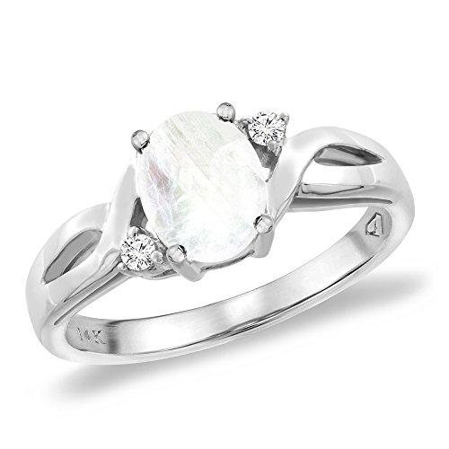 14K White Gold Diamond Natural Rainbow Moonstone Engagement Ring Oval 8x6 mm, sizes 5 10