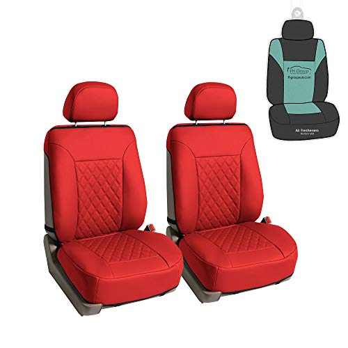 FH Group PU089102 Deluxe Faux Leather Diamond Pattern Car Seat Cushions (Red) Front Set – Universal Fit for Cars Trucks and SUVs