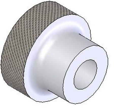 2'' Dia., 3/8-16 Tap, Stainless Steel, Dome Knurled Knob (1 Each)
