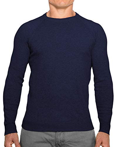 (Comfortably Collared Men's Perfect Slim Fit Lightweight Soft Fitted Crew Neck Pullover Sweater, Small, Navy Blue2)