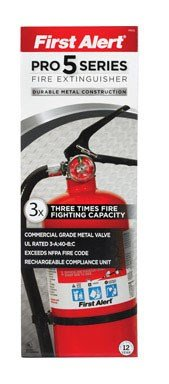 Rechargeable Extinguishers Fire (First Alert PRO5 Rechargeable Heavy Duty Plus Fire Extinguisher UL rated 3-A:40-B:C, Red)