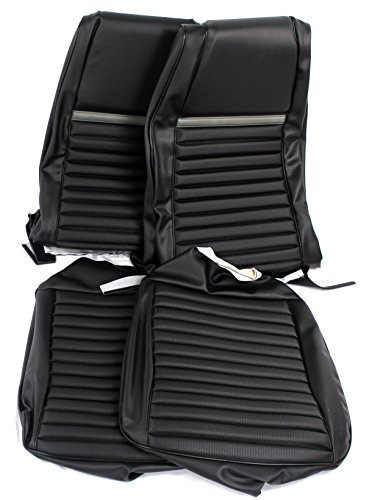 TMI 43-70000-3722-801-10 Mustang Front Black Vinyl Hi-Back Bucket Seat Upholstery (Gray Stripes, Mach 1/Shelby) (Front Door Panels Tmi)