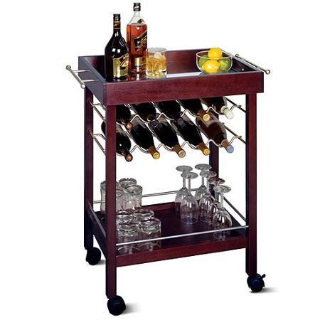 Create Your Own Bar with 10-bottle Rolling Bar Cart with Shelf (Make Mirrored Your Furniture Own)