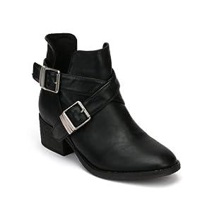 Breckelles AD94 Women Leatherette Designer Cut Out Round Toe Ankle Bootie - Black (Size: 9.0)