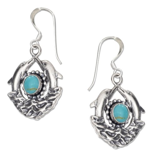 le Dolphin Earrings with Simulated Turquoise on French Wires (Dolphin French Wire Earrings)