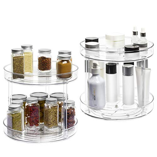 2 Tier Lazy Susan -2 Pack Plastic Clear Spinning Organization & Storage Container Bin 10.5 Inch Round Turntable…