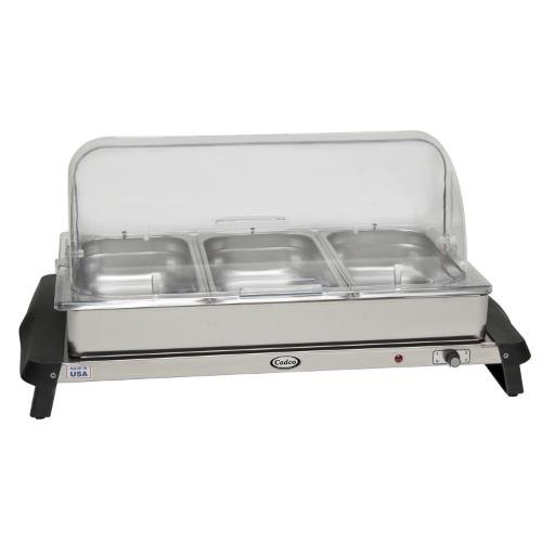 Cadco WTBS-3RT Stainless Triple Buffet Server with Roll Top (Warming Equipment Steam Tables)
