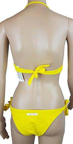 Bikini Neckholder / Bandeau mit Pailletten / Gr.34 XS / Träger abnehmbar/ Cups herausnehmbar / gelb
