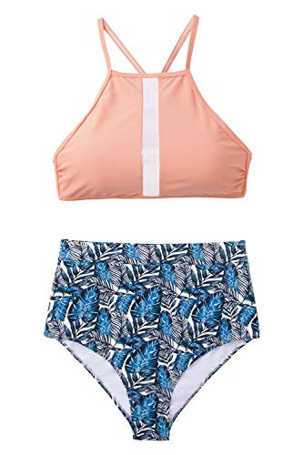 (CUPSHE Women's Leaves Printing High Waisted Bikini Set Tankini Swimwear (Large, Pink Blue))