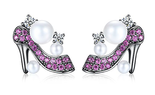 vLine High Heels Earrings Red Studs White Round Cut Zirconia Pave Button Pearls Gunmetal Tone