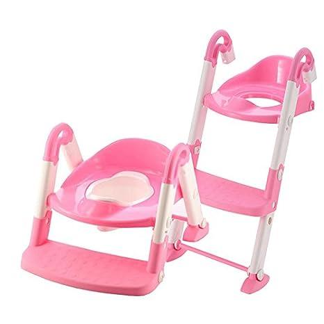 ETiME Toilettentrainer 3 in 1 Toilettensitz Töpfchen Toiletten-Trainer mit Stufen Töpfchen-Trainer Kinder WC Sitz Pink