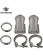"""PQYRACING 1 Pair 3.5"""" Vband 90 Degree Cast Turbo Elbow Adapter Flange 304 Stainless Steel + Clamp for T3 T4 Turbocharger"""
