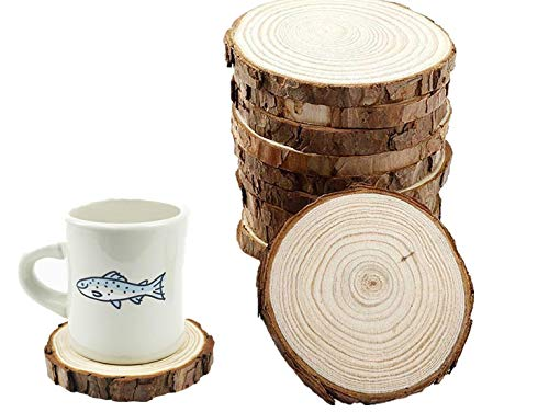 Natural Unfinished Wood Slices with Bark 10pcs 4- 4.7(10-12cm) for centerpieces Handmade Wedding Craft Ornaments