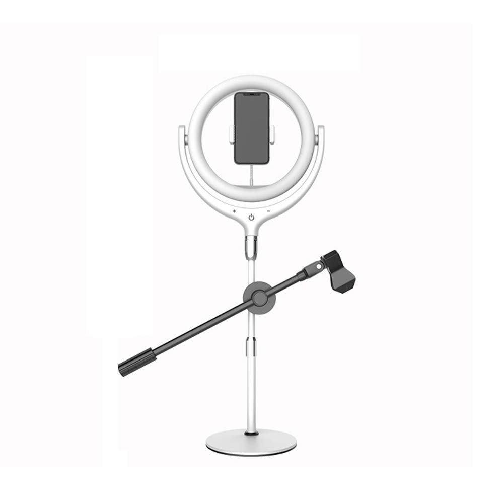 AJDGL Multi-Function LED Fill Light with Microphone Pole, USB Charging Stepless Dimming Touch Control Selfie Ring Light with Phone Holder for Platform Live Streaming,White by AJDGL