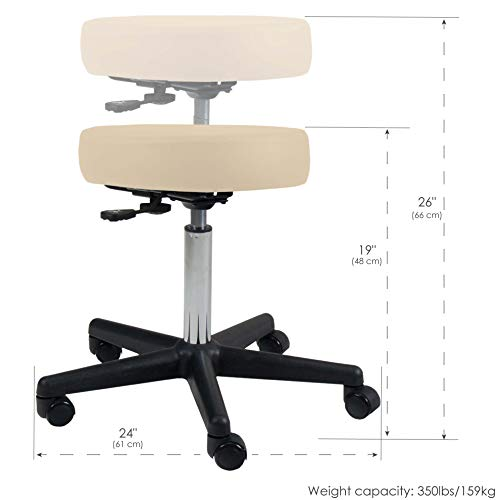 EARTHLITE Pneumatic Massage Salon Drafting Stool - No Leaking (vs. Hydraulic), Adjustable, Rolling, CFC-Free / Medical Spa Facial Chair ()