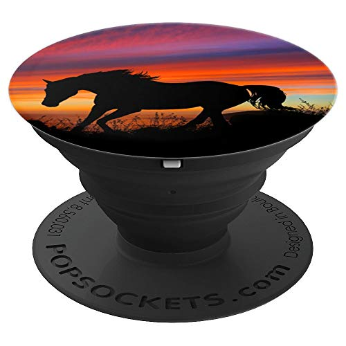 (Ever Pretty Sunset Silhouette Horse On Oceanside Mountain - PopSockets Grip and Stand for Phones and Tablets)
