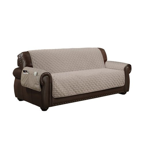 QuickFit Wallace Durable Quality Reversible Water Resistant Cover for Dogs, Kids, Pets Slipcover for Couch, Recliner, Loveseat Or Chair, (SOFA SIZE, Taupe)