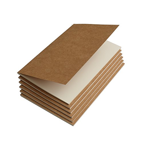 Travel Journal Set With 6 Notebook Journals for Travelers - Kraft Brown Soft Cover - A5 Size - 210 mm x 140 mm - 60 Blank Pages/ 30 Sheets