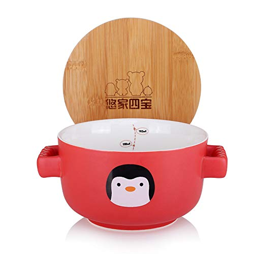 UPSTYLE 26oz Cute Big Ceramic Soup Bowl with Bamboo Lid and Handle Cartoon Animal Pattern for Kids Large Cup Mug for Rice/Salad/Instant Meals Food/Noodle/Cereal/Vegetables Fruit(750ml Red Penguin)