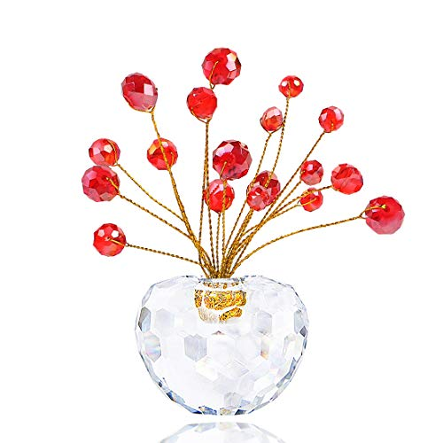 Hophen Crystal Money Apple Tree Healing Fengshui Paperweight Car Interior Christmas Home Decoration Ornament Figurine Wedding Favor (Red) (Home Figurines Interiors)