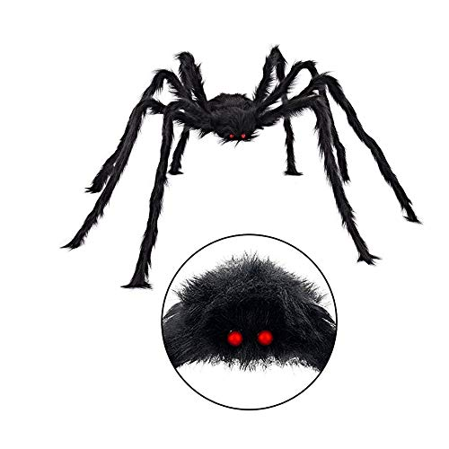 Giant Halloween Spider Decoration, Binca Vidou Bendable Posable Scary Plush Spider Décor for Halloween Party Haunted House Carnival Indoor Outdoor Yard Porch Decoration