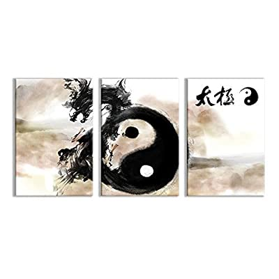 3 Plane Canvas Wall Art - Tai Chi Dragon East Style Ink Painting Living Room Prints - Modern Home Art Stretched and Framed Ready to Hang - 16