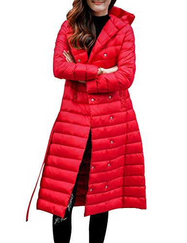 Gihuo Women's Lightweight Double-Breasted Long Down Jacket Hooded Puffer Coat With Belt (Small, Red) (Puffer Red)