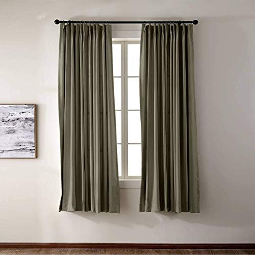Prim Pinch Pleat Curtain for Bedroom/Living Room Darkening Thermal Insulated Blackout Curtains, Window Drapes, Olive Color, 52
