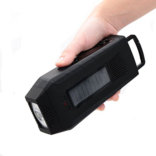 E&W Home Protector Portable Digital Emergency Solar Crank AM/FM/NOAA Weather ALERT Radio for All Types of Hazards with 2000mAh Power Bank, 3W Flashlight For Keep Your Family Safe (092WB, Black)