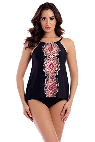 Miraclesuit Women's Mandala Peephole High Neck Tankini Top Black 12 Miraclesuit Nylon Tankini