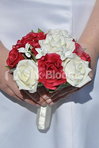 ('Real Touch' Red and White Roses & Stephanotis Bridesmaid Wedding Bouquet)