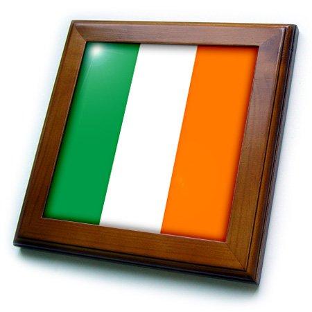 3dRose ft_158340_1 Flag of Ireland Irish Green White Orange Vertical Stripes United Kingdom UK World Country Souvenir Framed Tile, 8 by 8-Inch