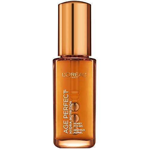 Eye Gel by L'Oreal Paris, Age Perfect Hydra-Nutrition Eye Gel with Manuka Honey Extract and Nurturing Oils, Anti-Aging Eye Gel for Dry Skin with Rollerballs Applicator to De-puff, Paraben Free, 0.5 oz