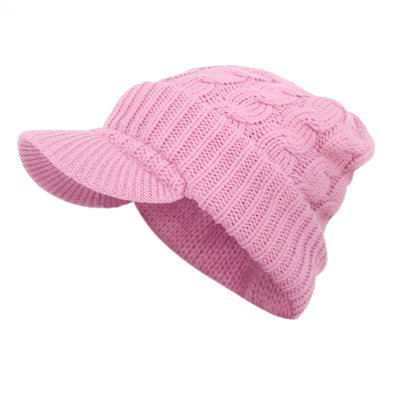 PINK Visor Cable Knit Slouchy Baggy Beanie Oversize Winter Hat Ski Cap Skull Womens