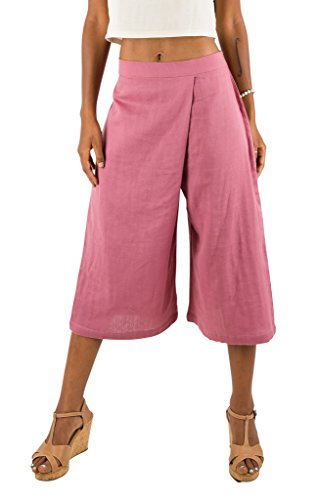 Women's Organic Cotton Capri Pants, Culottes Dusty Rose Pink by Tropic Bliss
