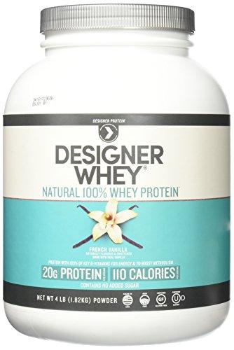 Vanilla Natural - Designer Whey Premium Natural 100% Whey Protein, French Vanilla, 4 Pound