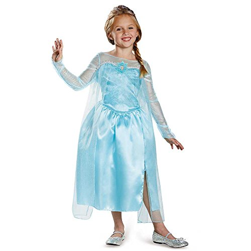 Disguise Disney's Frozen Elsa Snow Queen Gown Classic Girls Costume, X-Small/3T-4T (Halloween Costume Disney Princess)