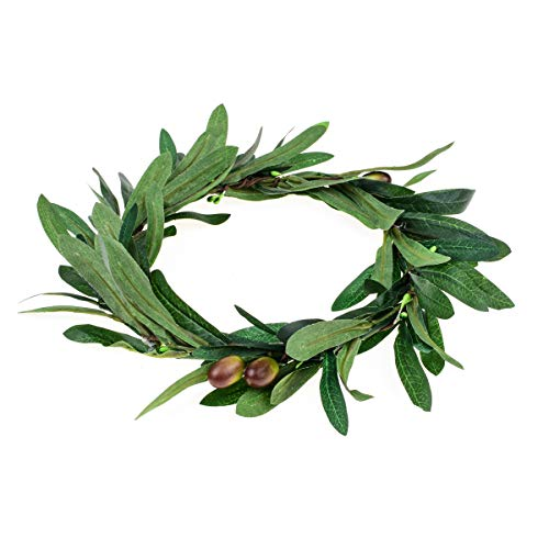 Floral Fall Artificial Olive Leaf Greece Flower Halo Bridal Headpiece Greenery Crown HC-32 (Olive Leaf)]()