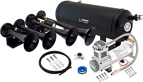 Vixen Horns Loud 149dB 4/Quad Black Trumpet Train Air Horn with 1.5 Gallon Tank and 200 PSI Compressor Full/Complete Onboard System/Kit VXO8315/4124B