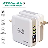 Aleplay Qi Wireless Charger, 6700mAh Power Bank With Led Display, Travel Wall Charger for iPhone X, iPhone 8, 8 Plus, iPad, Samsung Galaxy S8, S8 Plus (Standard Travel Powerbank(including US AC Plug))