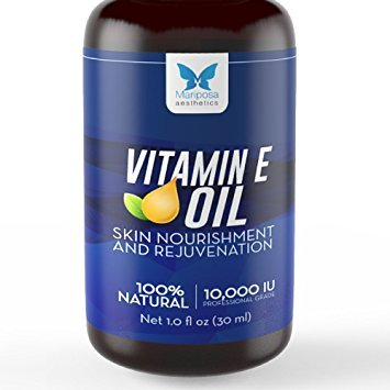 Vitamin E Oil, 100% Natural — Skin Nourishment & Renewal — Natural Vitamin E Oil 10,000 IU +...