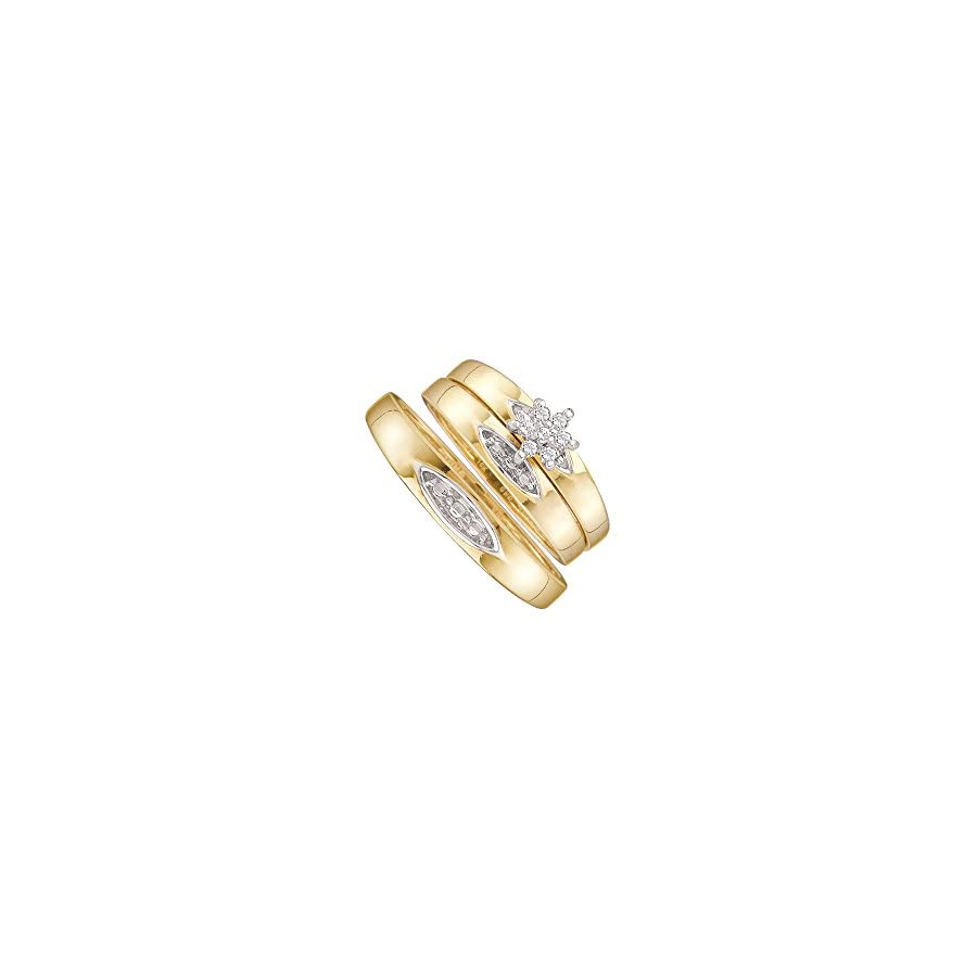 10k Yellow Gold Trio His & Hers Round Diamond Cluster Matching Bridal Wedding Ring Band Set 1/12 Cttw