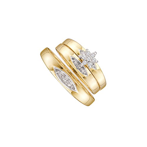L = 7, M = 8-10k Yellow Gold Trio His & Hers Round Diamond Cluster Matching Bridal Wedding Ring Band Set 1/12 Cttw (9 Ct Gold Set)