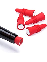 OHYOHO Wine Stoppers (Set of 5), Silicone Reusable Wine Bottle stopper and Beverage Bottle Stoppers, Red